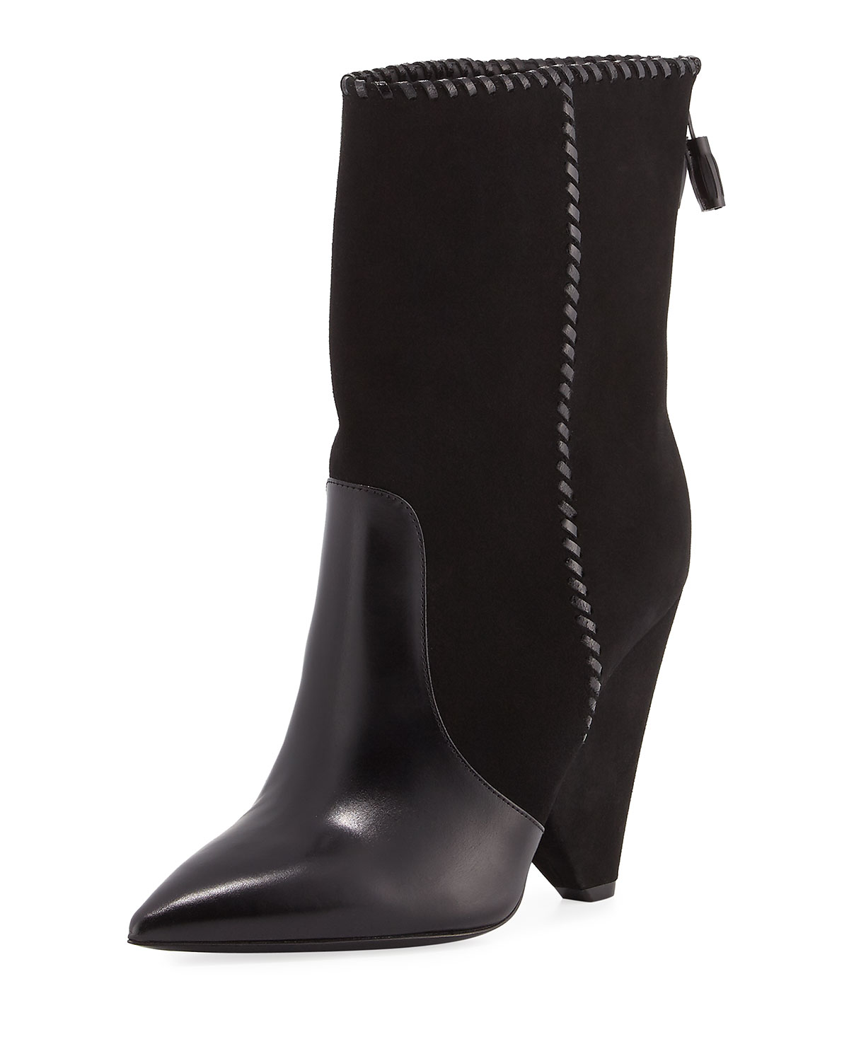 95f0363ced81 Saint Laurent Niki Mixed Leather Mid-Calf Boots