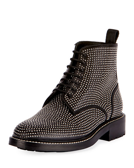 William Studded Leather Combat Boot, Black