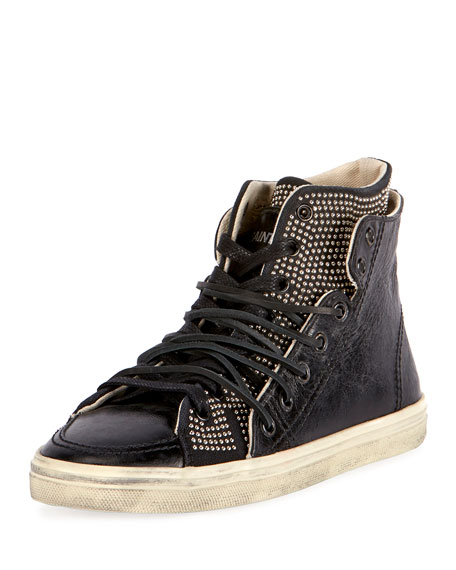 Rivington Studded Leather High-Top Sneaker, Black