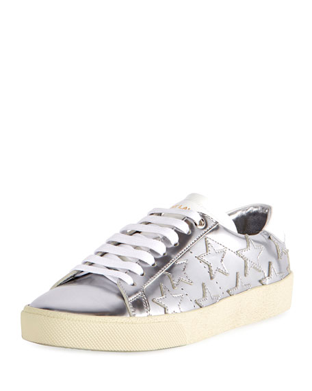 Saint Laurent Court Classic Star Low-Top Sneakers, Silver