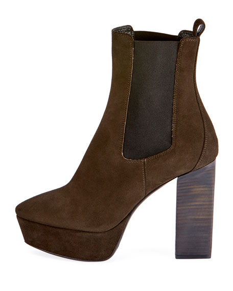 Vika Suede Platform Ankle Boot, Olive