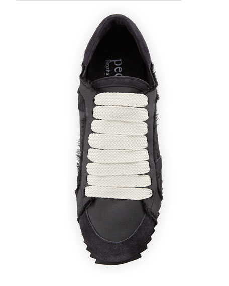 Cristina Satin Lace-Up Trainer Sneaker