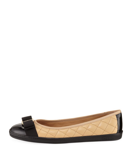 Bow Quilted Flat Sneaker, Nude