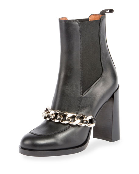 Givenchy Chain Leather Chelsea Bootie, Black