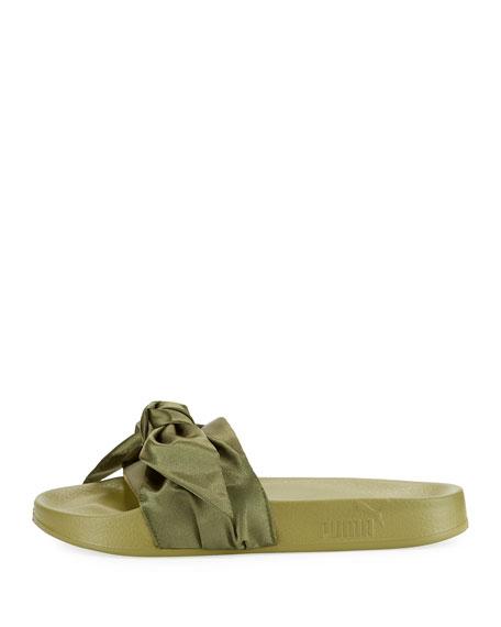 Bow Satin Flat Slide Sandal, Green
