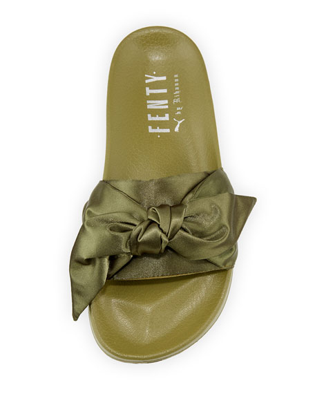 outlet store 0ba65 c4d8d Bow Satin Flat Slide Sandal, Green