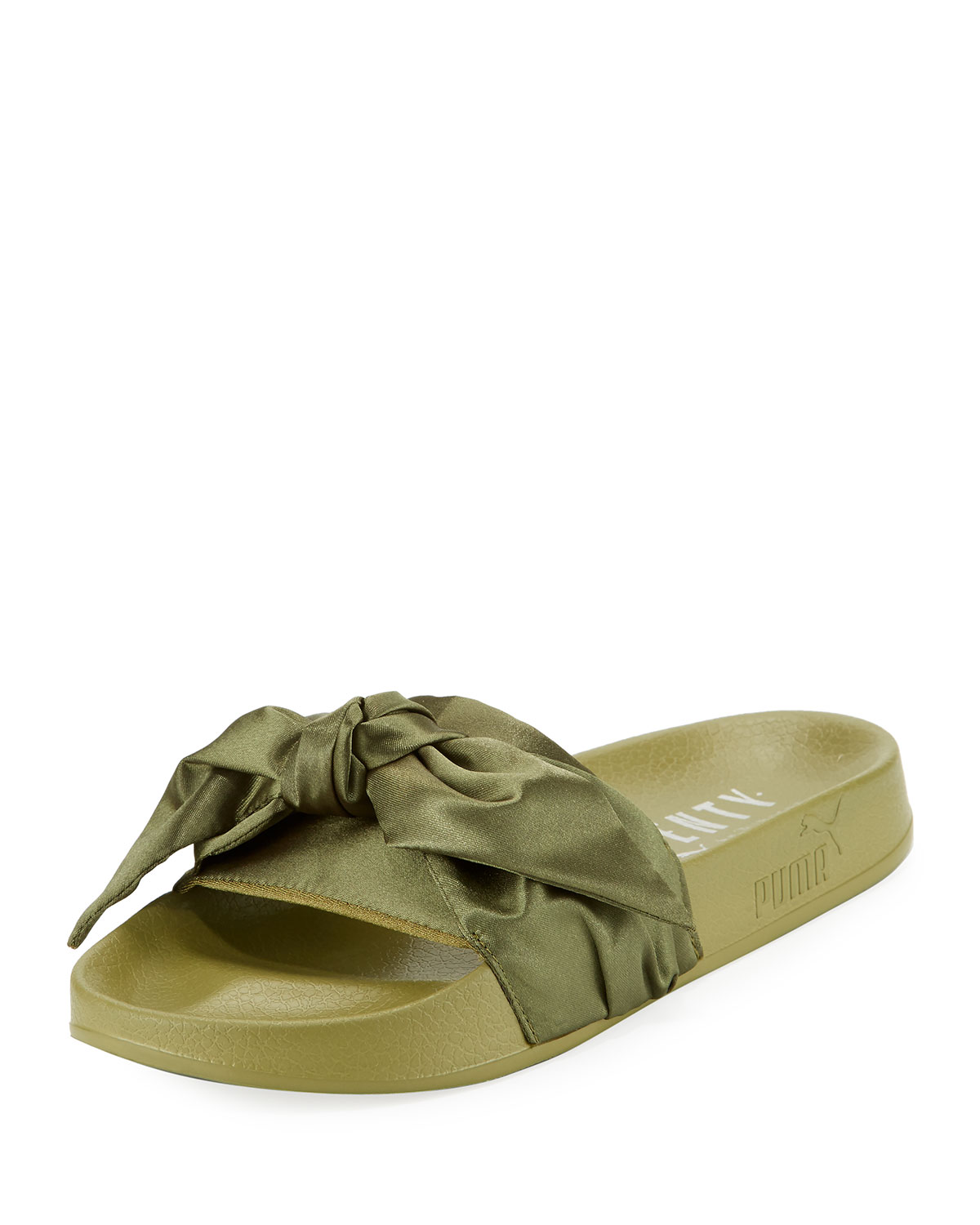 outlet store 2027e 9c98c Bow Satin Flat Slide Sandal, Green