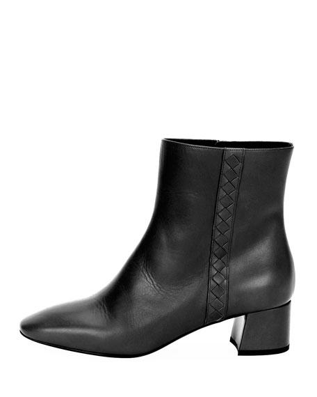 Intrecciato-Trim Leather Ankle Boot, Black