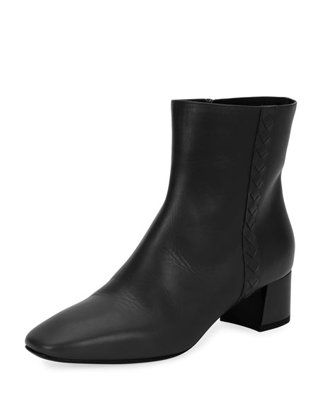 Bottega Veneta Intrecciato-Trim Leather Ankle Boot, Black
