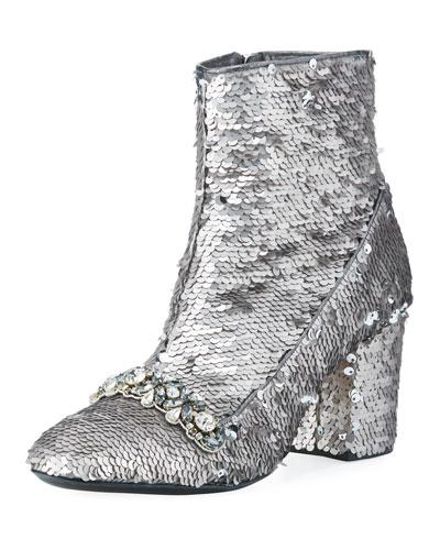 Sequin-Embellished Zip Bootie, Silver