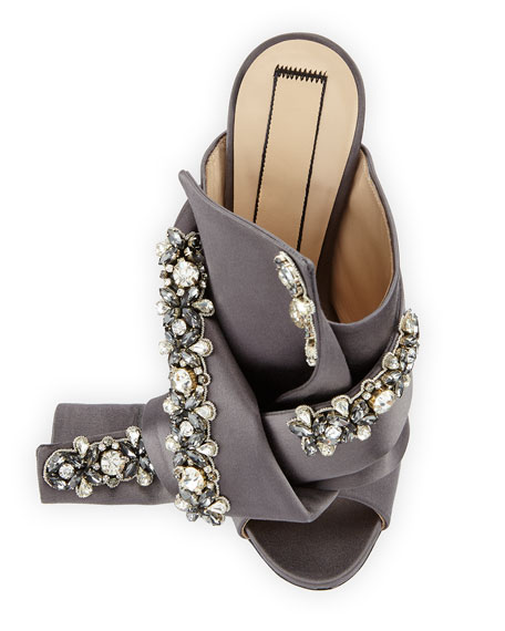 Jeweled Satin 100mm Mule Sandal, Taupe
