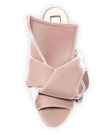 Velvet Knotted Flat Sandal, Rosa