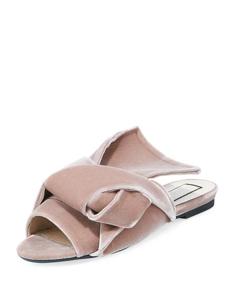 No. 21 Velvet Knotted Flat Sandal, Rosa