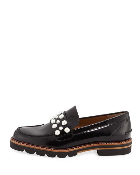 Mocpearl Embellished Lug-Sole Loafer, Jet Mir