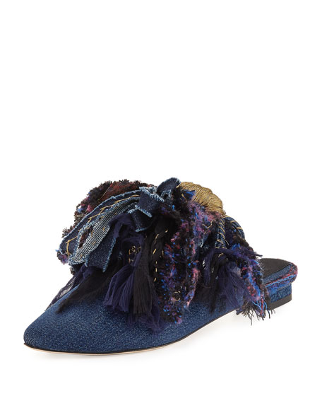 Chardin Fringe Slipper Flat, Denim