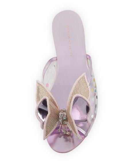 Lana Mesh Butterfly Flat Slide Sandal, Pink