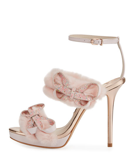 Bella Faux-Fur Ankle-Wrap Sandals, Pink