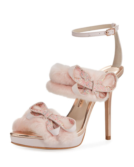 Sophia Webster Bella Faux-Fur Ankle-Wrap Sandal, Pink