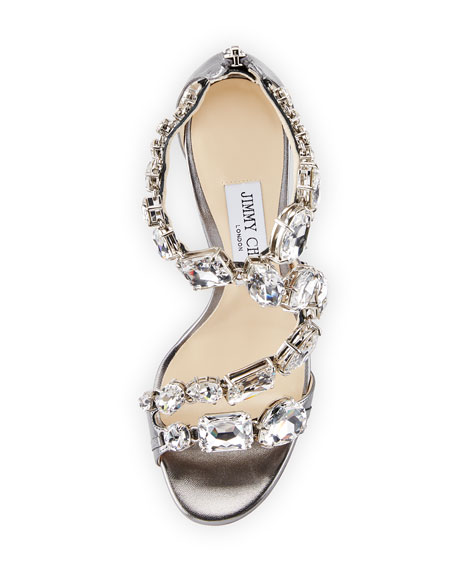 Karima Crystal 100mm Sandals, Gray
