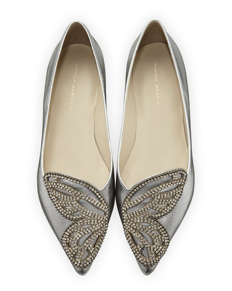 Sophia Webster Bibi Butterfly Crystal Flat, Silver