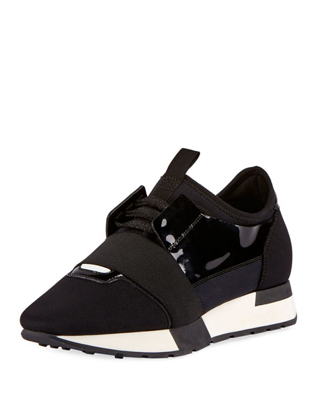 Balenciaga Lace-Up Stretch Runner Sneaker, Noire (Black)