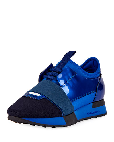 Patent Mesh Lace-Up Runner, Blue