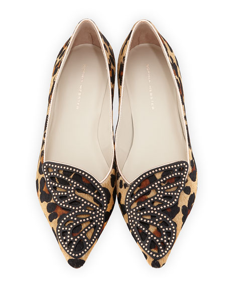 Sophia Webster Bibi Butterfly Calf-Hair Flat, Leopard