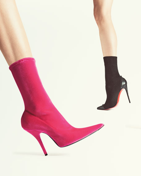 Velvet Sock Pull-On Bootie, Rose Fuchsia