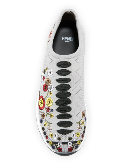 Marie Embroidered Knit Trainer Sneaker