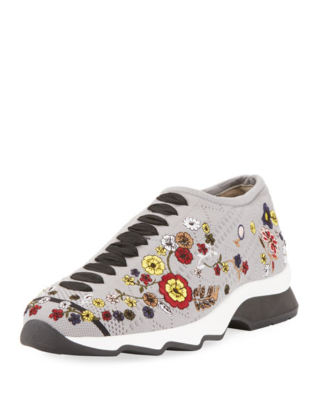 Fendi Marie Embroidered Knit Trainer Sneaker