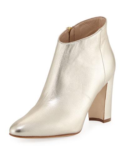 Brusta Metallic Leather Booties, Gold