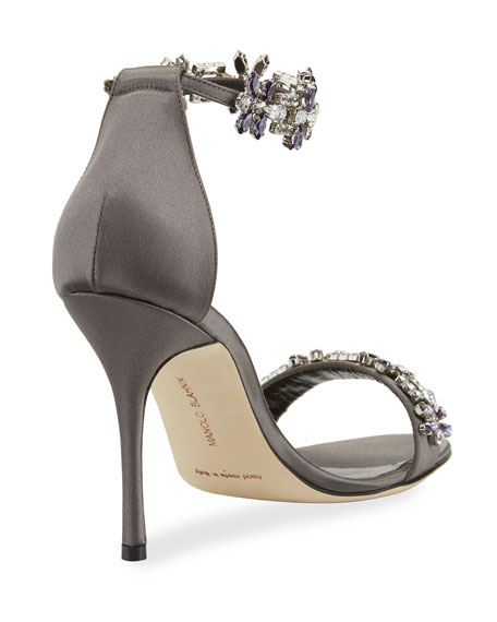 Firaduo Embellished Satin Sandals, Gray