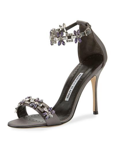 Firaduo Embellished Satin Sandal, Gray