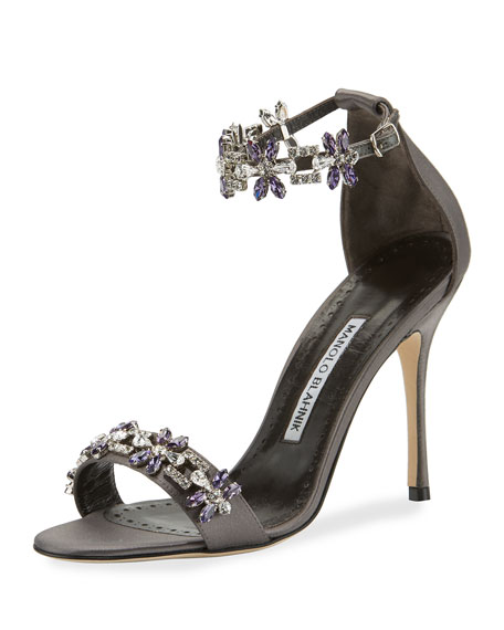 Manolo Blahnik Firaduo Embellished Satin Sandals, Gray