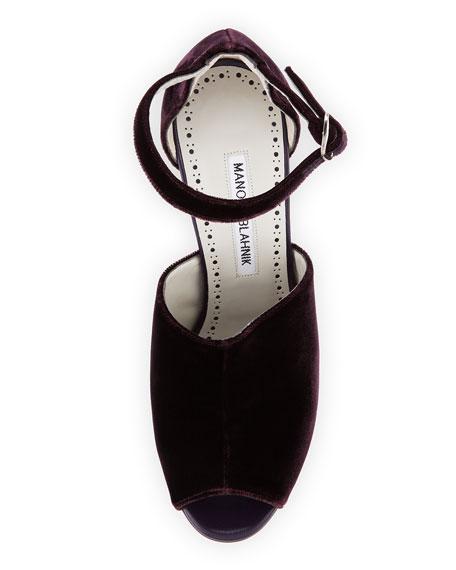 Aminta Velvet Ankle-Wrap Sandal