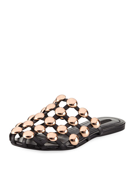 Amelia Studded Caged Leather Mule, Black