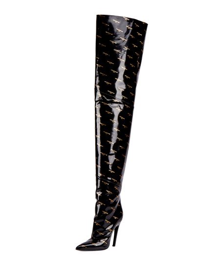 Balenciaga Logo-Print Patent Over-The-Knee Boot, Noir (Black)
