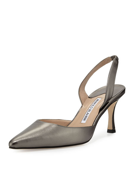 Manolo Blahnik Carolyne Leather Mid-Heel Halter Pump