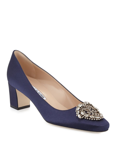 Okkato Jeweled Satin 50mm Pump