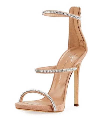 Crystal-Embellished Strappy Sandal, Blush