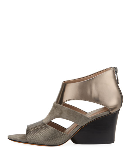 Jenkin Layered Demi-Wedge Sandal, Gray
