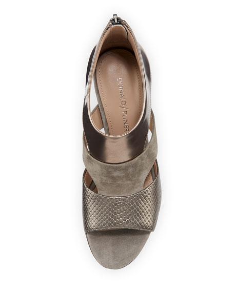 Jenkin Layered Demi-Wedge Sandal, Gray