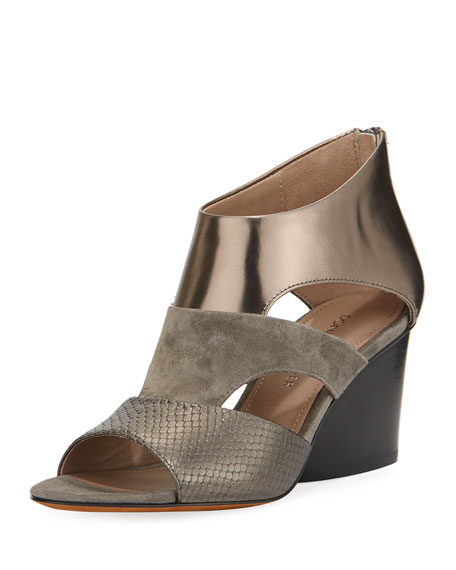 Donald J Pliner Jenkin Layered Demi-Wedge Sandal, Gray