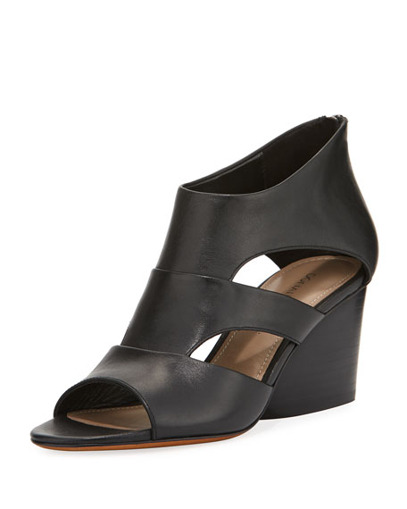 Donald J Pliner Jenkin Leather Demi-Wedge Sandal, Black
