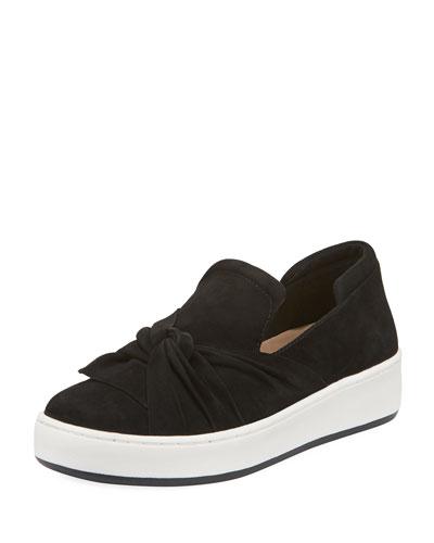 Celest Ruching Suede Sneaker, Black