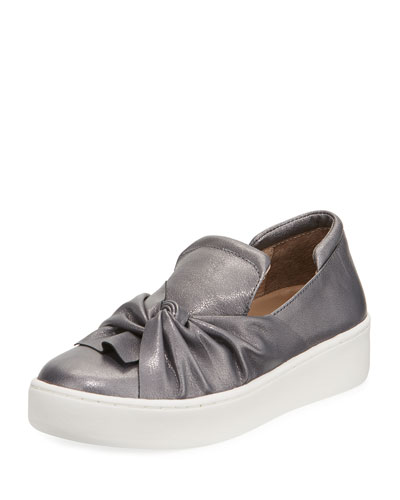 Celest Ruching Metallic Sneaker, Gray