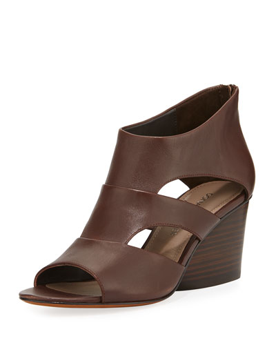 Jenkin Leather Demi-Wedge Sandal, Brown