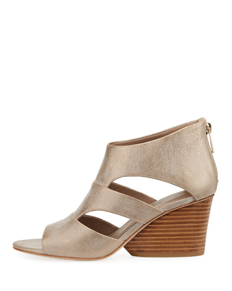 Jenkin Leather Demi-Wedge Sandals, Gray