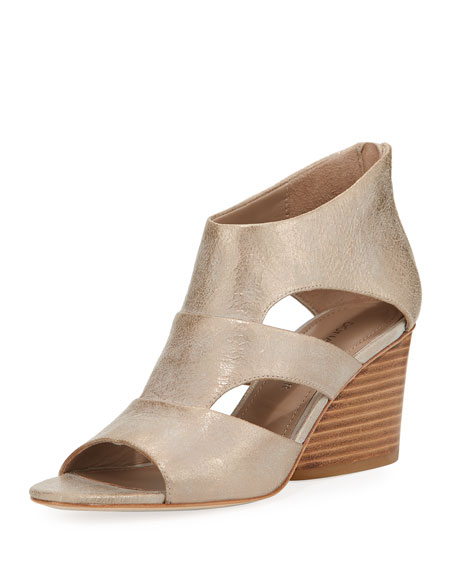 Donald J Pliner Jenkin Leather Demi-Wedge Sandal, Gray