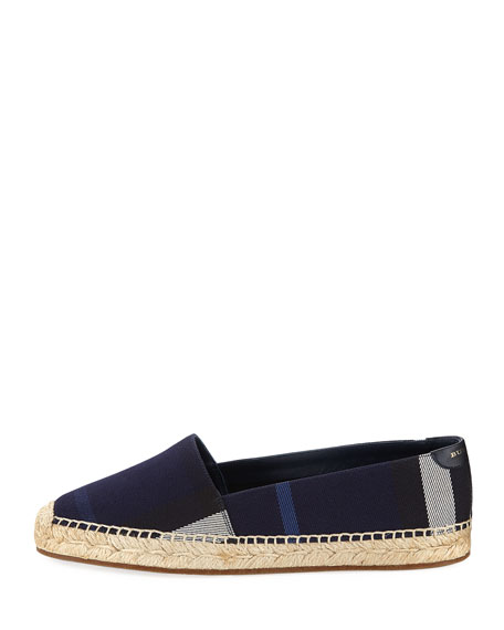 Hodgeson House Check Flat Espadrille, Navy